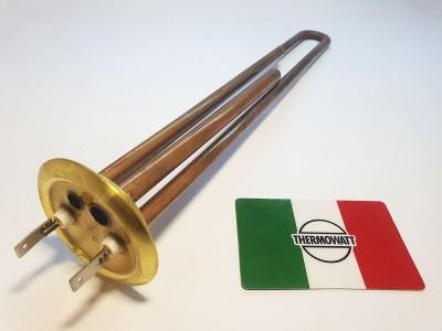 Тэн 1,3 кВт Латунь, прямой с трубками под 2 терм Италия