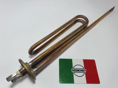 Тэн медь Италия 1,5 кВт, фланец, гнутый, под анод, длинная ножка М6 Thermowatt